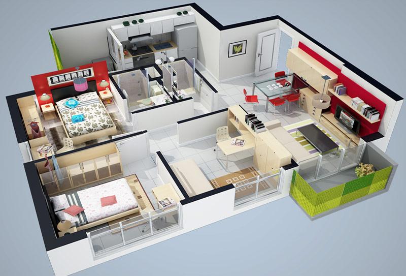 Renders fachadas casas y edificios animaciones y planos for Plano casa minimalista 1 planta